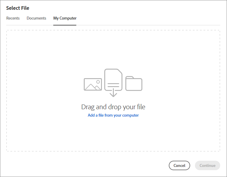 Select a file from your computer
