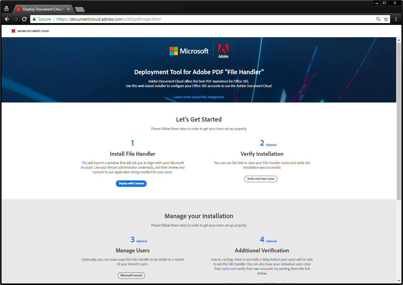 Deployment tool home page