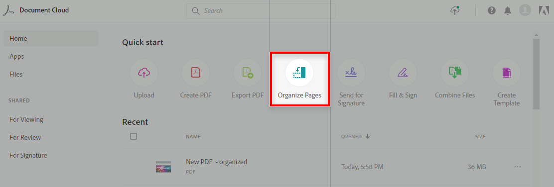 Choose Organize Pages