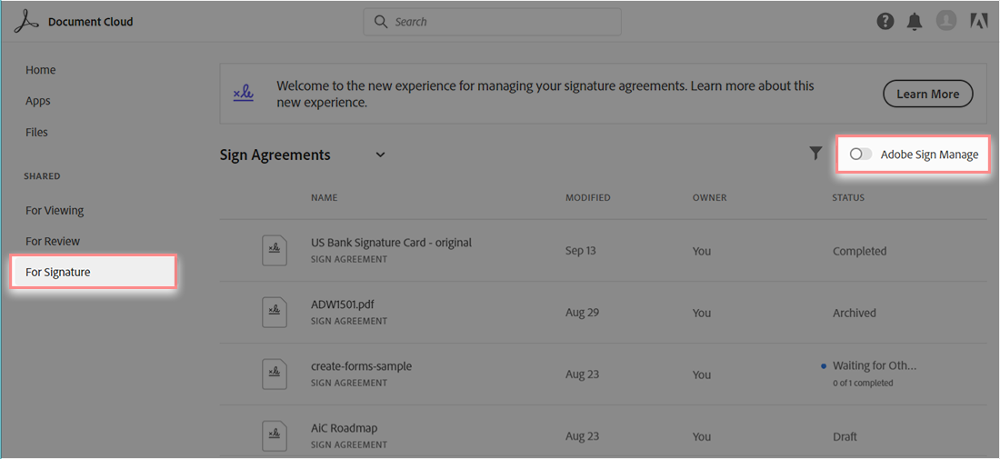 Access the Adobe Sign Manage dashboard