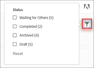 Filter Sign agreements by status