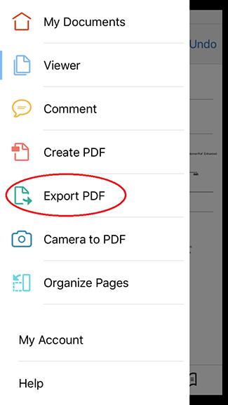 Using Adobe Export PDF