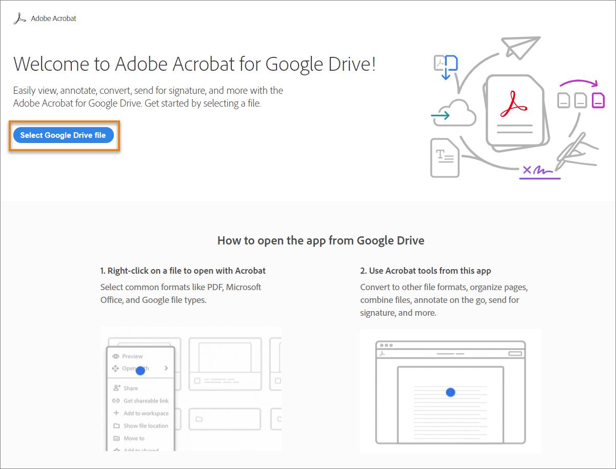 Adobe Acrobat for Google Drive welcome page