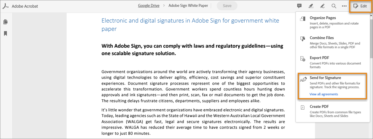 Send your PDF documents for signature