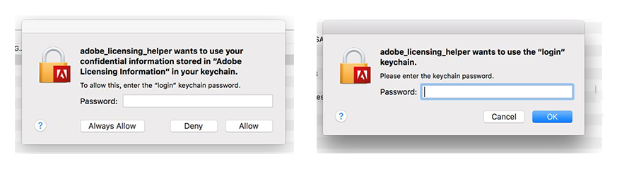 Apps display the licensing dialog box while accessing the Keychain