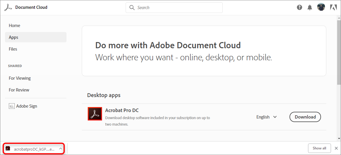 How to download and install Acrobat DC subscription
