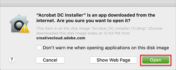 Al alert about opening a downloaded file