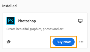 Buy now option in the Creative Cloud desktop app