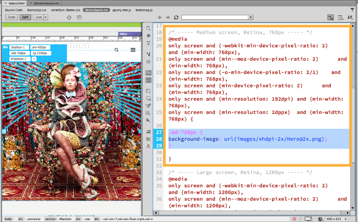 Add the images to individual media queries