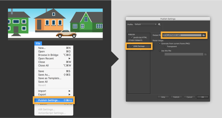 Export oam files from animate cc for use in dreamweaver and adobe export oam files animate websitefig01 pronofoot35fo Image collections