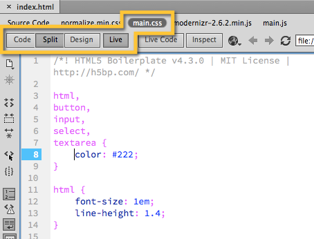 Figure 3. The main.css file selected in the Document Toolbar while in Split View with Live View enabled