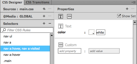 Figure 13. Setting pseudo-class properties in CSS Designer