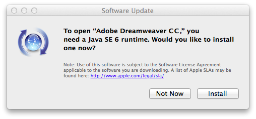 Install Java SE 6 Runtime in Mac 10.9 for Dreamweaver