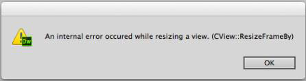 Dreamweaver CC crash message