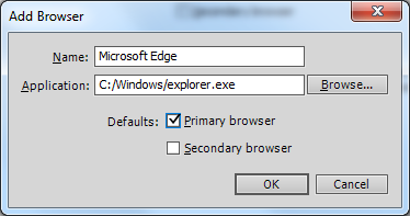 Add Browser dialog box