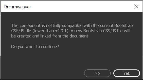 Version compatibility confirmation dialog