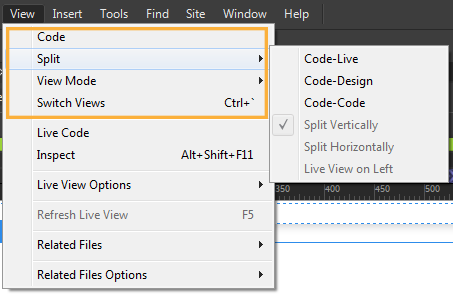Switching views using the View menu options