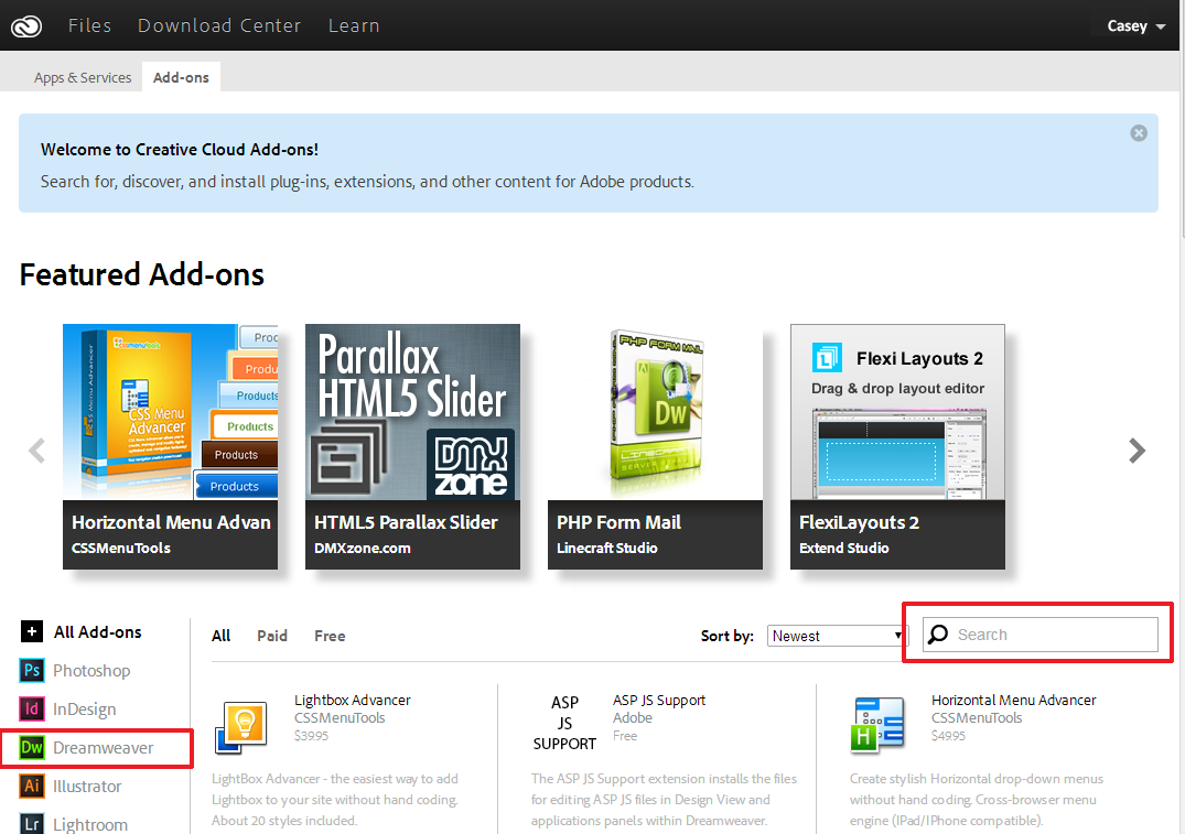 Adobe Creative Cloud Add-Ons page. Dreamweaver extensions.