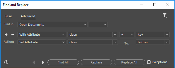 Advanced Find and Replace dialog