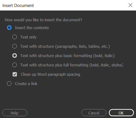 Drag a Word or an Excel document into Dreamweaver