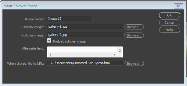 Setting properties of a rollover image