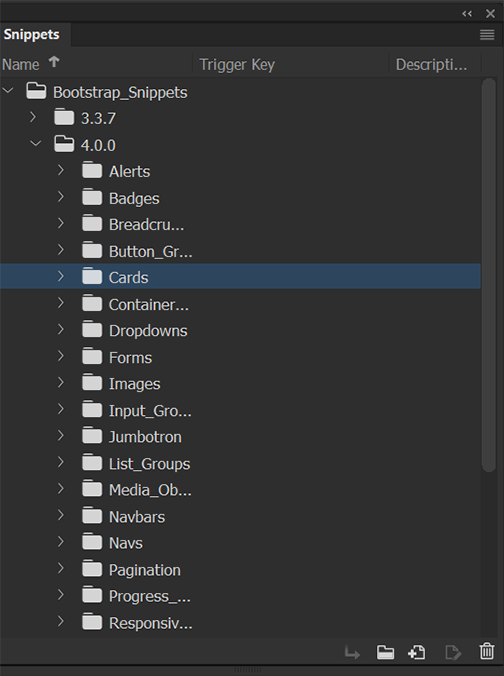 Snippets panel in Dreamweaver