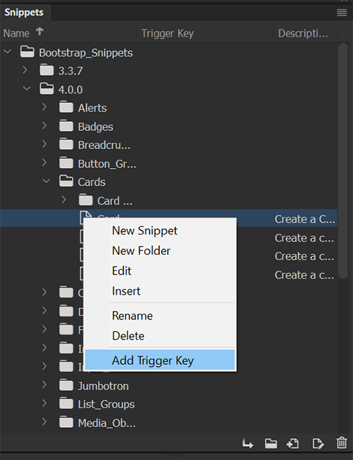 Select Add Trigger Key in the Snippets panel