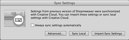 Import settings into Dreamweaver CC 2014. Creative Cloud.