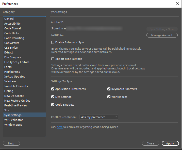 Sync Settings in Preferences dialog box