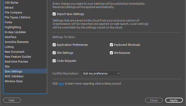 Select Import Sync Settings