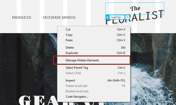 Manage Hidden Elements option in the right-click menu in Dreamweaver CC (October 2014)