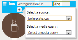 CSS Source and Media Query options in Element Display