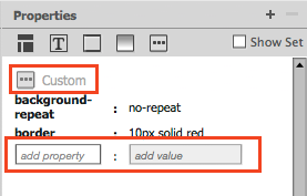 Text boxes to add property name and value