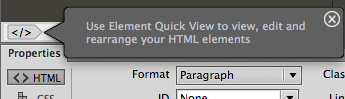 Element Quick View message
