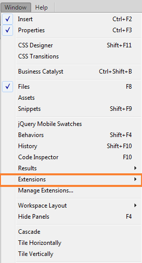 Window > Extensions in Dreamweaver CC 13.0