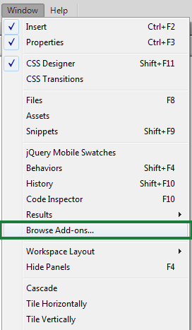 Window > Browse Add-Ons in Dreamweaver CC 2014