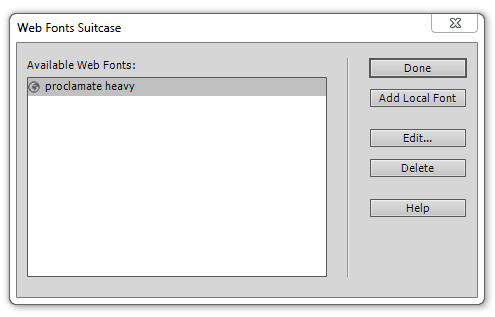 Web Fonts Suitcase dialog