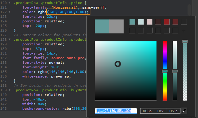 Accessing the color picker in a CSS file