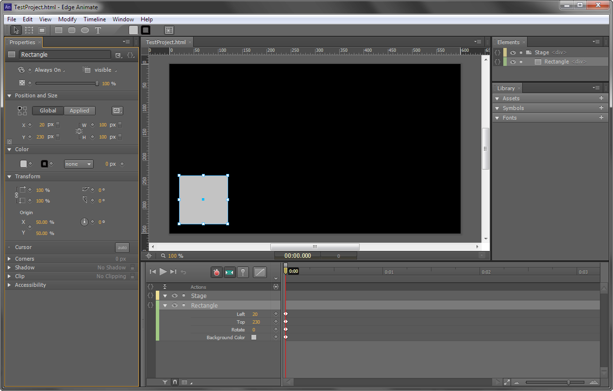 Create your first Edge Animate project