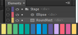 Color coding in the Elements panel