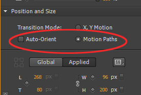 Motion Paths option in the Contextual Properties Panel