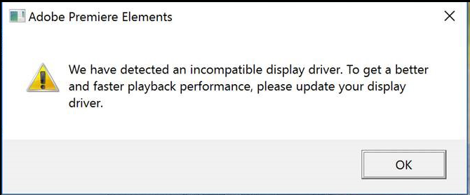 Incompatible display driver