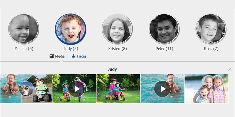 Find videos and photos organized in stacks in People view