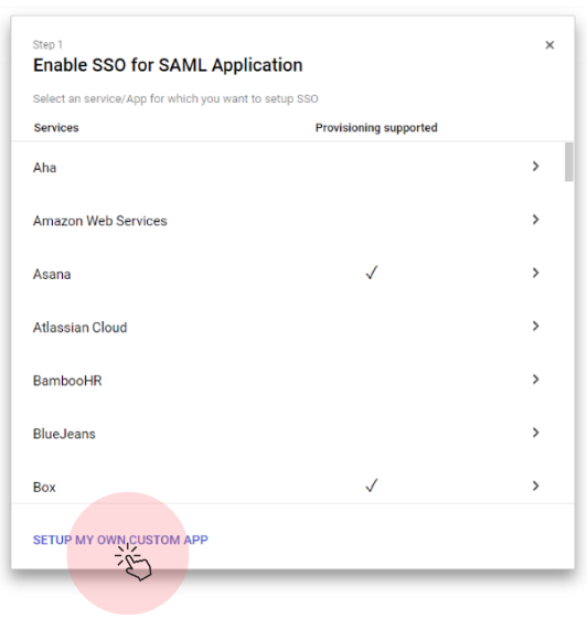 Enable SSO for SAML Application