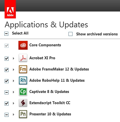 Select products on the Applications & Updates screen