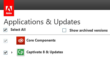Select Captivate under Applications & Updates