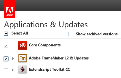 Select FrameMaker under Applications & Updates