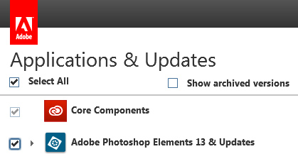 Select Photoshop or Premiere Elements under Applications & Updates