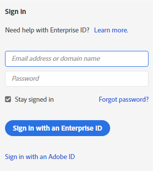Sign in to Adobe apps and website with your company or