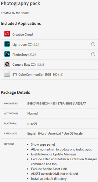 Package ID is on the Package details panel